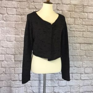 Eileen Fisher Gray/black cotton/knit cardigan L